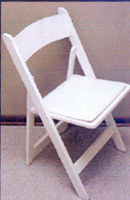 White Wood Chair With Padded Seat